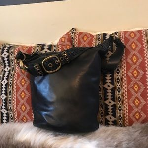 Large Black Leather Coach Bucket Bag